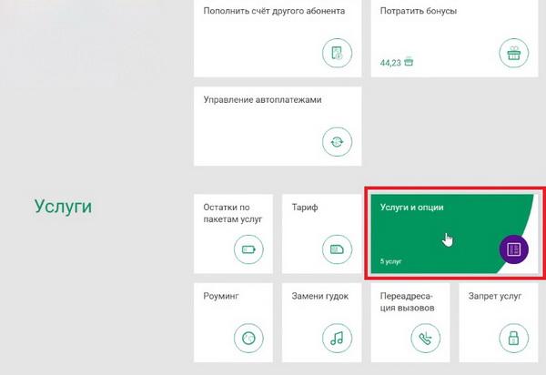 Услуги и опции в ЛК Мегафона