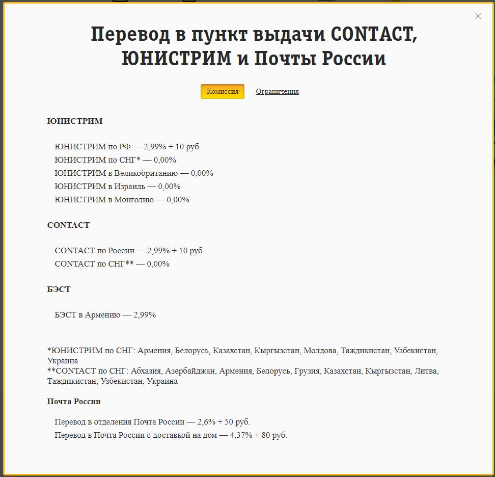 Комиссия при переводе ЮНИСТРИМ, CONTACT, Почта России