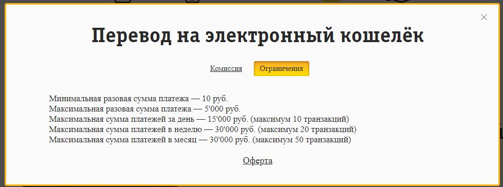 Ограничения переводов на электронные кошельки