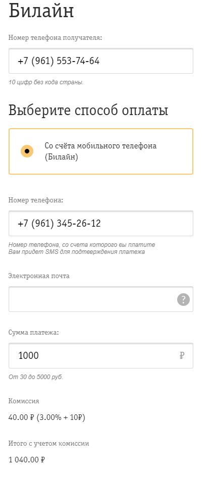 Пример перевода с телефона на телефон