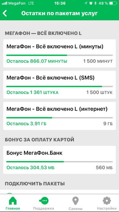 Информация в мобильном приложении